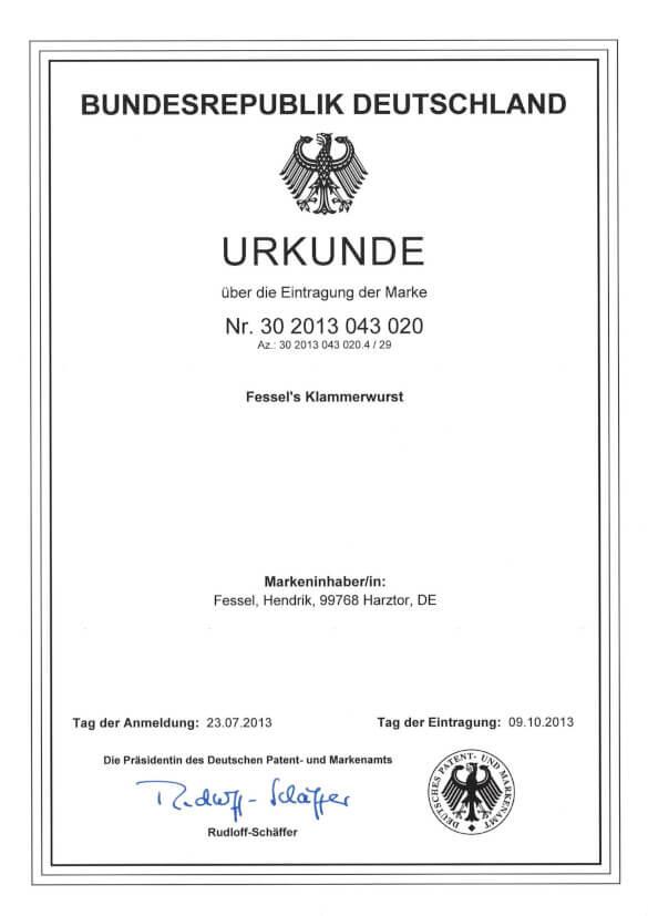 Patenturkunde für Fessel's Klammerwurst