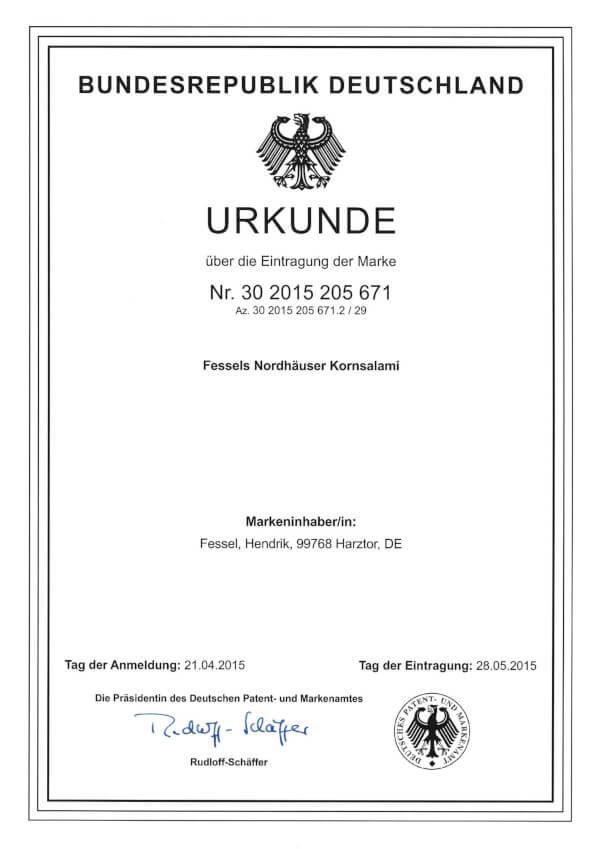 Patenturkunde für Fessels Nordhäuser Kornsalami.