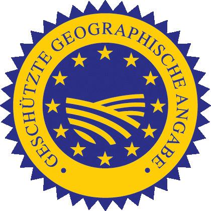 Ein EU-Patentsiegel mit der Aufschrift: Geschützte geographische Angabe. In der Mitte EU-Sterne und eine Landschaft.