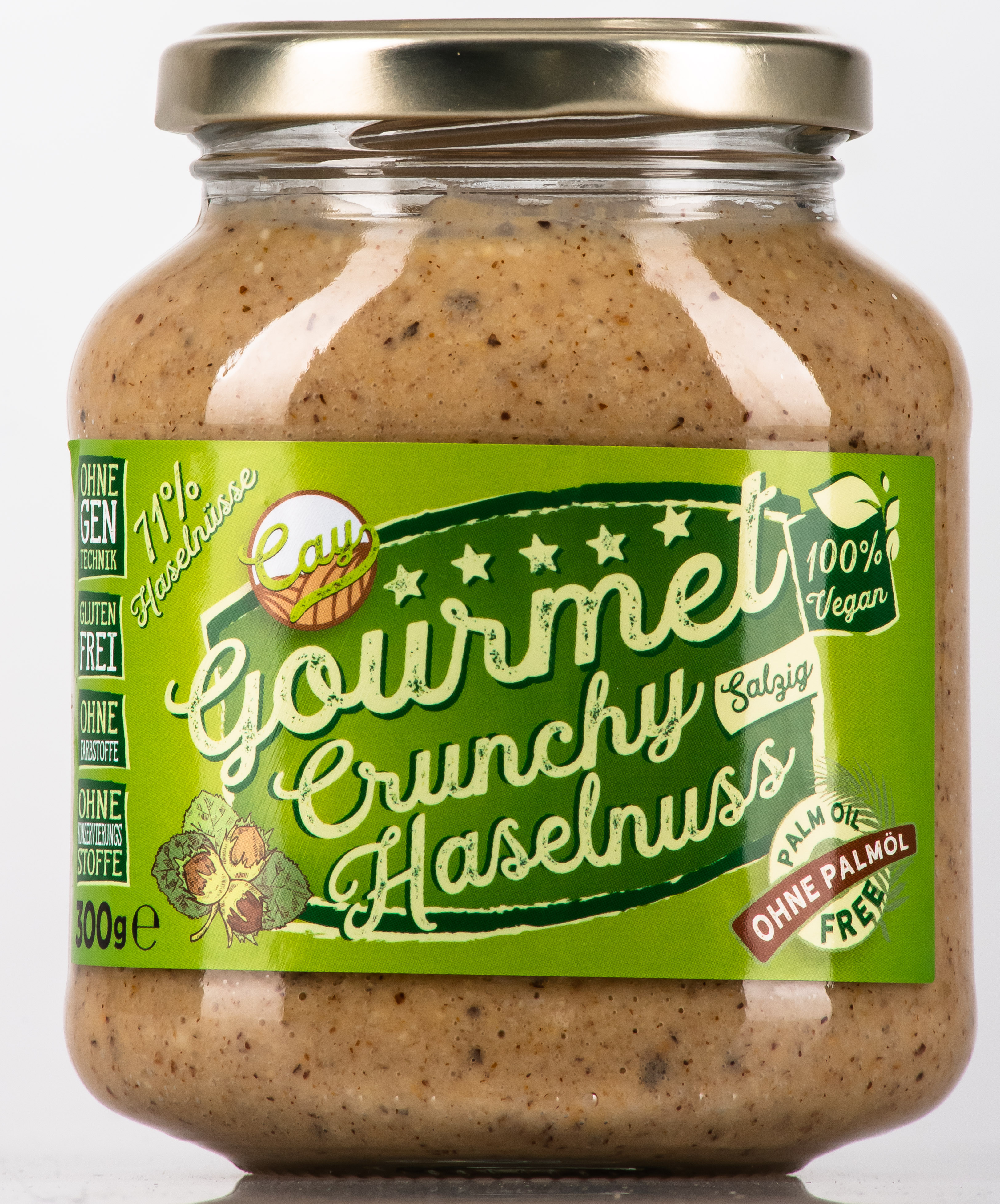 Cay Foods Haselnussaufstrich Cruncy mit Salz.