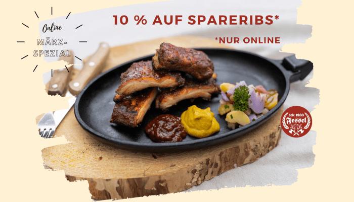 Eine Pfanne mit Spareribs. Im Onlineangebot 10 Prozent Rabatt bei der Fleischerei Fessel.