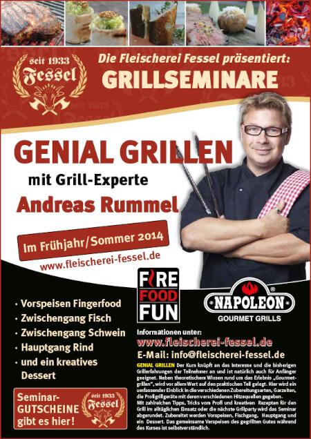 Plakat für Grillseminare mit Andreas Rummel. Viel Text auf einem rot-schwarzem Plakat. Rechts Andreas Rummel.