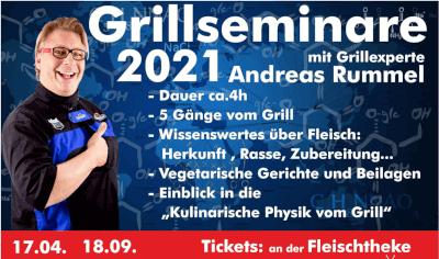 Plakat für Grillseminare 2021 mit Andreas Rummel. Weiße Schrift auf blau-rotem Hintergrund.