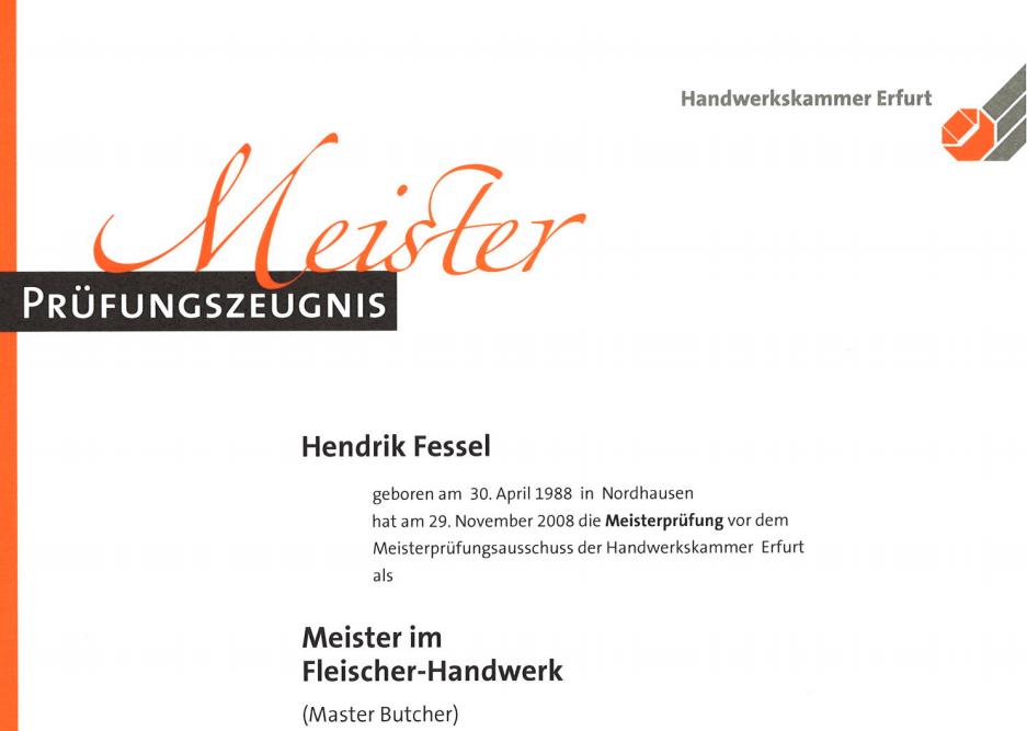 Meisterzeugnis von Hendrik Fessel