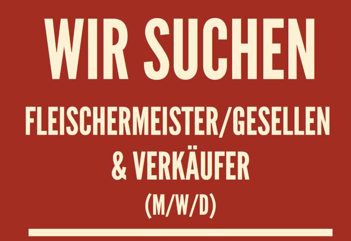 Stellenausschreibung der Fleischerei Fessel für Meister, Gesellen und Verkäufer.
