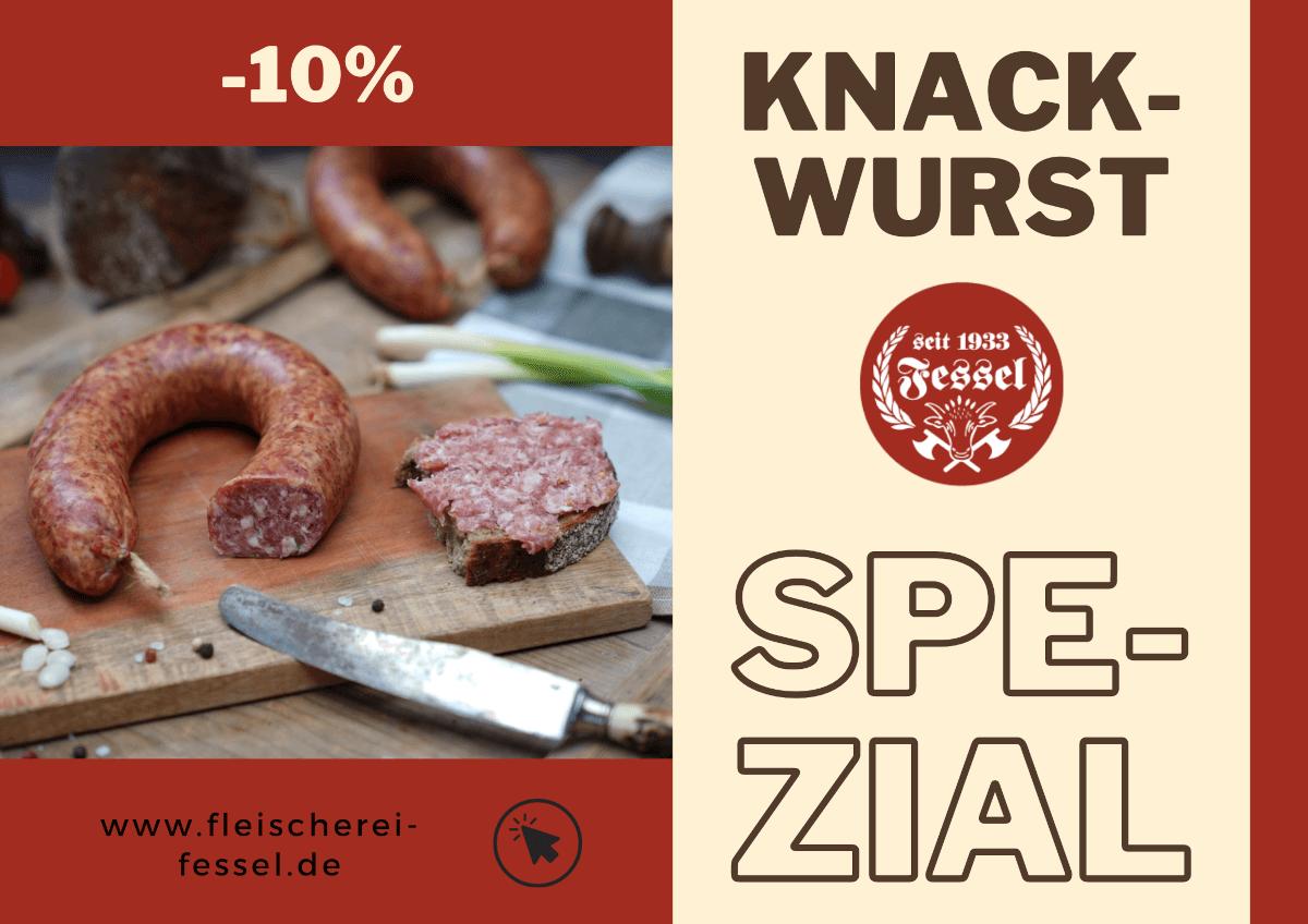 Ein Werbebanner der Fleischerei Fessel mit einem 10%-Online-Rabatt auf Knackwurst.
